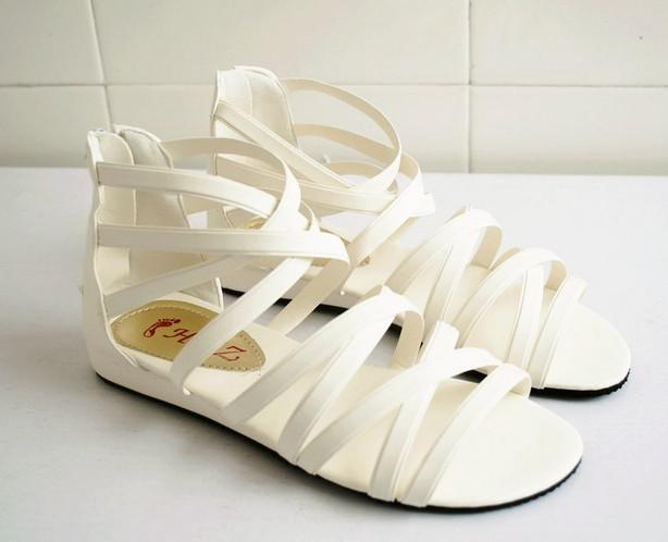 Wholesale - 20pairs Women's Open-toed shoes White lady Rome flat heels