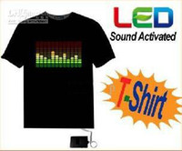 china led shirt - Sound Activated Light up and down LED Light el flashing T Shirt suitable man