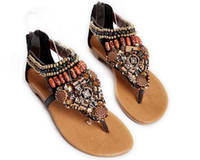 Wholesale 1pairs order Women s hand Color film beaded shoes bohemian flat sandals Open toed shoes drop ship