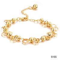 Wholesale 18K gold plated fashion chain bracelet bell charms adjuestable chain fashion bracelet KS155