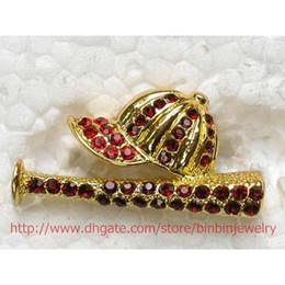 Wholesale C352 C2 Red Crystal Rhinestone Baseball Cap Sports Pin Brooch jewelry gift