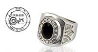Wholesale Fashion jewelry Men s ring Black onyx Men s titanium steel ring diamond ring Christmas gifts