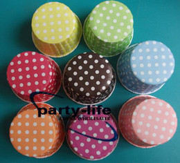 1500pcs Mix color Round MUFFIN Paper Cake Cup Cake case with White Dot ,free shipping