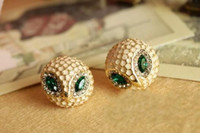 Wholesale Hot Korea Fashion Jewelry Enamel Golden Head Cocked Owl Stud Earrings