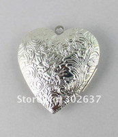 Wholesale 20PCS Silver Plate Floral Heart Locket Pendant x40mm