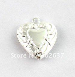 50PCS Floral Heart SP Locket Pendant 20mm #20408