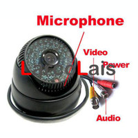 Wholesale 48LED IR CCTV Color Dome Audio Day Night Indoor Security Camera quot CMOS TV Line NTSC PAL Black