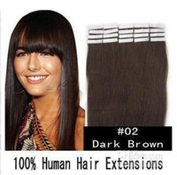 Wholesale 16 quot quot Human PU EMY Tape Skin Hair Extensions amp g DARKEST BROWN sets DHL FREE
