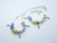 Wholesale New arrival hand made Goalkeeper glass bead silver jewelry set DPT068