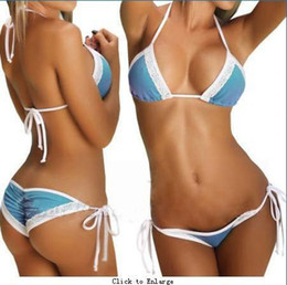 Wholesale 10pcs Blue and White colors Sexy Bra Sets Lace Women Bikini Swimwear Colors