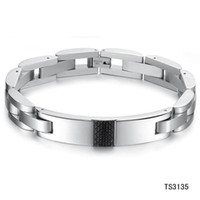Wholesale 10 off new arrival MM stainless steel bracelet fashion male jewelry carbon fiber bangle TS3135