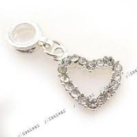Wholesale 12 New Clear Rhinestone Pandent Heart Pendants Copper Charms Beads Fit European Necklace