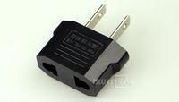 Wholesale Mini EU EUROPE to US USA Travel Power Outlet AC Plug Adaptor Converter Black