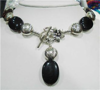 Wholesale Nepal Silver Black Agate Onyx Gemstone Necklace