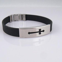 Wholesale Cross Black Silicone Bracelet Stainless Steel Buckle Bracelets