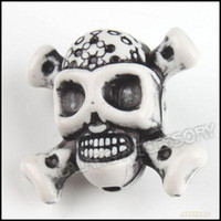White plastic skull - Black amp White Skull Plastic Beads Loose Straight Hole Beads Fit Charms Jewelry DIY