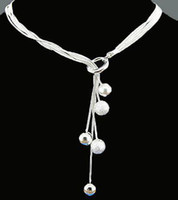 Wholesale Sterling Silver fashion jewelry charm bead chain necklace N222