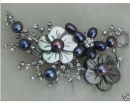free shipping women's Jewellery real silver saltwater black Pearl Flower Brooch