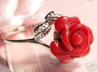 Wholesale Wonderful silver red Coral Flower Ring to
