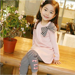 Girl's suits Girl's long sleeve stripe Butterfly knot T-shirt + Girl stripe Butterfly knot Leggings
