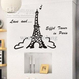 Wholesale -Paris Eiffel Tower Wall Decor Removable Wall Decals ...