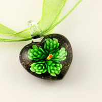 Splendid italianos murano soplado corazón murano de flores colgantes de cristal veneciano para collares joyas joyería de moda china barata