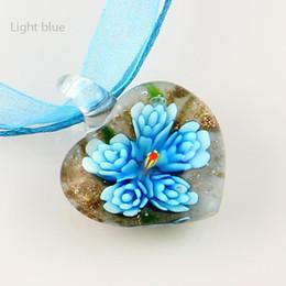 Top seller venetian Italian heart flower inside lampwork blown murano glass necklaces pendants cheap fashion jewelry Mup006