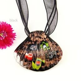 Flower seashell Italian venetian lampwork blown murano glass pendants for necklaces jewelry