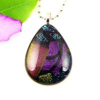 Gran lágrima gota de agua de vidrio colgantes arte hecho a mano papel dicroico murano para collares barato joyería de moda china Mup048