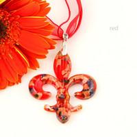 La flor de lis de murano italiano soplado de vidrio colgantes veneciano de Murano para collares joyas hechas a mano barata Mup070 bisutería de China