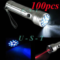 LED Flashlight Camp Hike Free shipping 15 LED LASER UV Red Laser Pointer Ultra Violet Flashlight Lamp Light Torch 100pcs lot