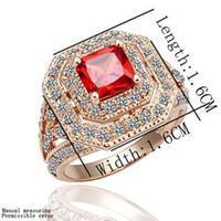 Unisex crystal ring jewelry - new Free P amp P K gold GP fashion red Zircon Crystal ring jewelry KR65