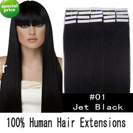 Wholesale 18 quot tape skin human hair extensions jet black g set