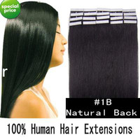 tape hair extensions - 18 quot tape skin human hair extensions B natural black g set