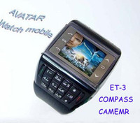 Wholesale AVATAR ET QuadBand Dual Sim Wrist Watch Cell Phone Compass Numberic Keypad TouchScreen Blue Sample
