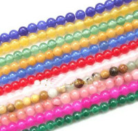 Wholesale round mm Multicolor jade gemstone loose Beads ADCG5