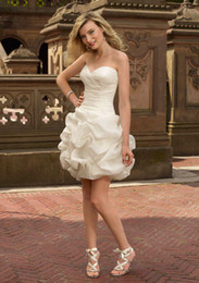 Wholesale 2011 Sexy Taffeta Sweetheart Mini Little White Bridal Gowns Wedding Prom Bridesmaid Dress Dresses W1