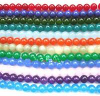 Wholesale round mm Multicolor jade gemstone loose Beads ADCG2
