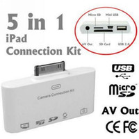 Wholesale 5 in Camera Connection Kit for iPad or iPad AV USB SD Card Reader with AV cable