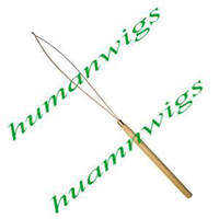 Bamboo / Wooden Handle  bamboo hair extensions - Feather Hair Extensions Wire Threader Micro Rings Hair Extensions Tools Bamboo Wooden Handle
