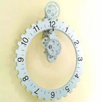 Wholesale Brand new Retro Modern Big gear wall clock Table Clock Art Clock Metal amp Plastic Clock Craft Clock
