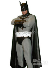 Wholesale Classic Black And Gray Batman Lycra Spandex Super Hero Costume piece