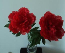 Quality Silk   Artificial   Simulation Single Head RED Peony Bouquet 62cm for Wedding & Home Decor