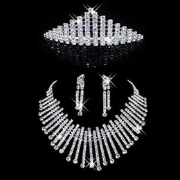 Wholesale well favored Wedding bridal crystal siver plated Necklace Earring Tiara fence