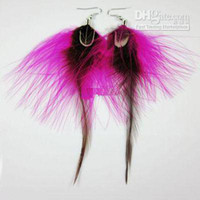 Wholesale 100 Pairs fish Tibetan Jaderic bohemia styles Feather Earring shagginess fashion earrings mix colors