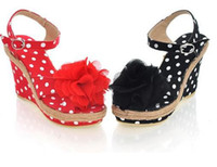 Women Wedges Summer Wholesale Wedge Sandals New arrival Hot Sale Specials Flower peep toe Dots wedge Sandals US5-8.5