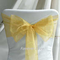 Wholesale New Arrival amp amp Hot Sell GOLD Wedding Party Chair Organza Sash Bow Decoration supplies