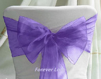 Wholesale 75pieces quot cm W x quot cm Wedding Party Banquet Purple Chair Organza Sash Bow