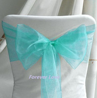 Wholesale New Arrival amp amp Hot Sell AQUA BLUE Wedding Banquet Party Chair Organza Sash