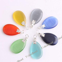 Wholesale 40pcs Fashion Assorted Opal Cat s Eye Stone Charms Pendants Fit Necklaces Have in Stock